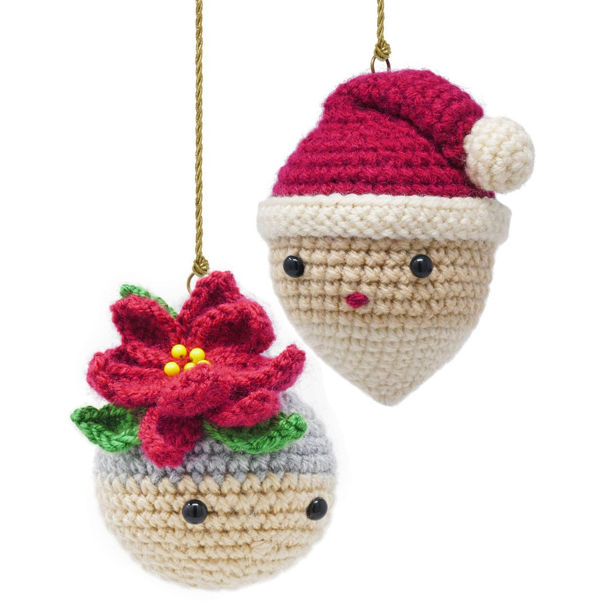 Santa And Mrs Claus Crocheted Ornaments Christmas Crochet Christmas Crochet Patterns Crochet Patterns