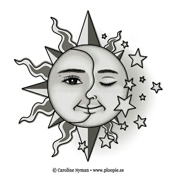 Sol Y La Luna Tatoo Estrellas Atrás De La Oreja Sol Y Luna