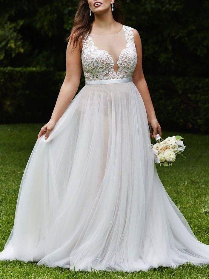 Gorgeous A-line White Long Chiffon Plus Size Wedding Dress ...