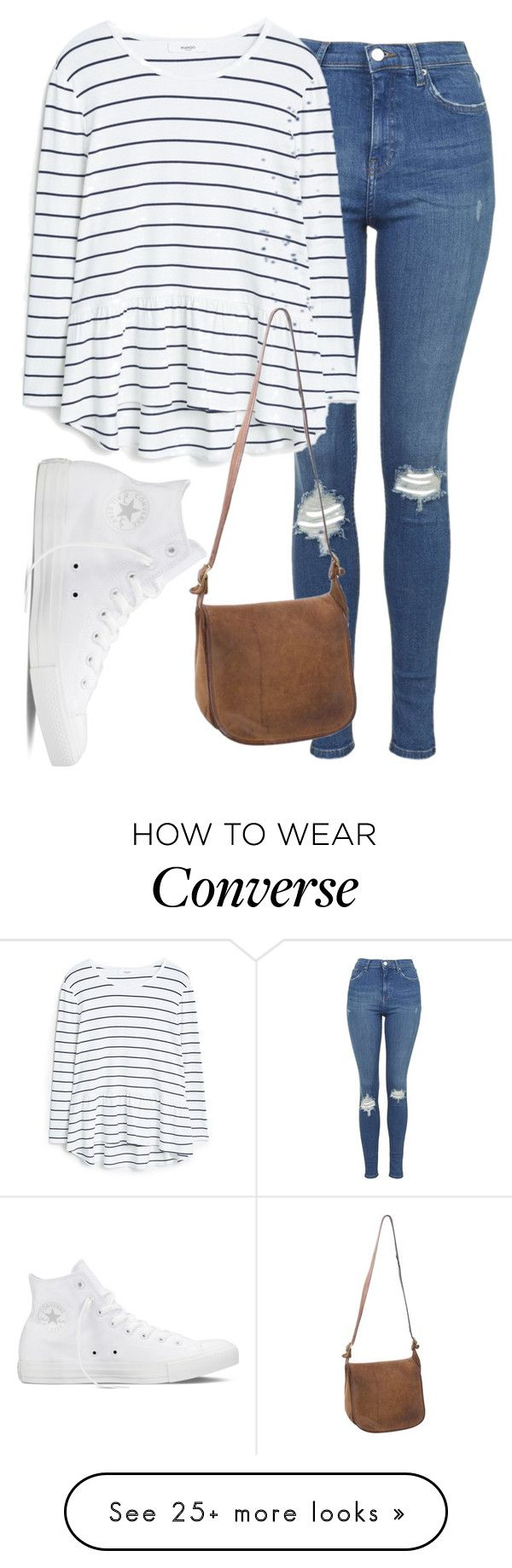 Polyvore featuring Topshop, Converse, MANGO and Coach