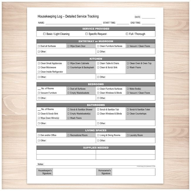 Housekeeping Log - Detailed Cleaning Service Tracking - Printable - housekeeper cleaning checklist