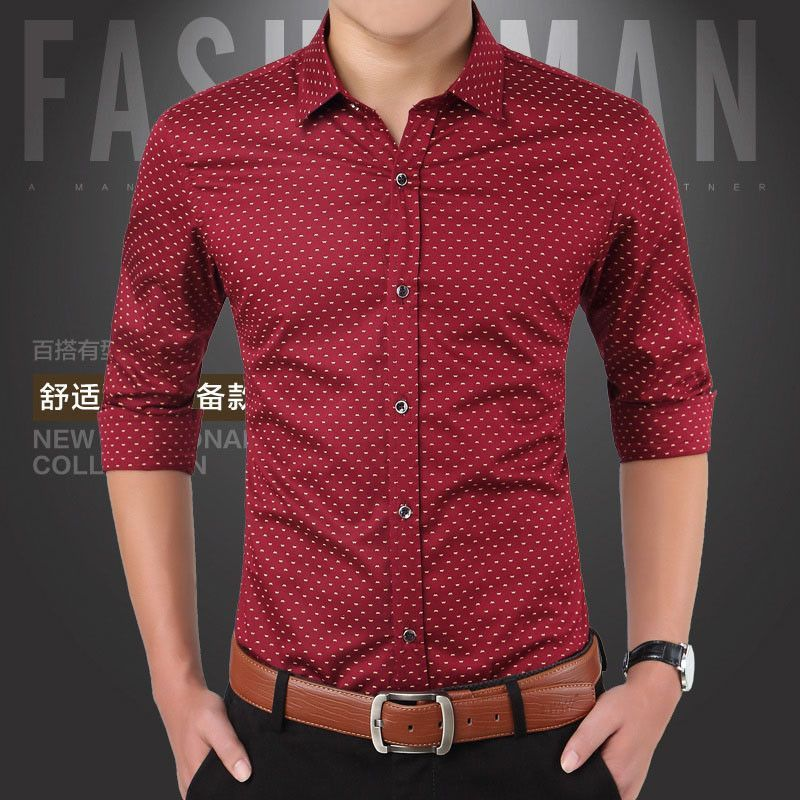 f0f324d5 New Men Shirts Casual Slim Fit Long Sleeve Shirt For Male designer Print  Camisa Brand Dress Shirt Big Size M~5XL CA3