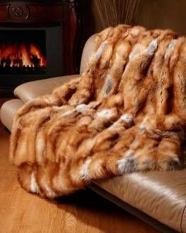Full Pelt Red Fox Fur Blanket / Fur Throw