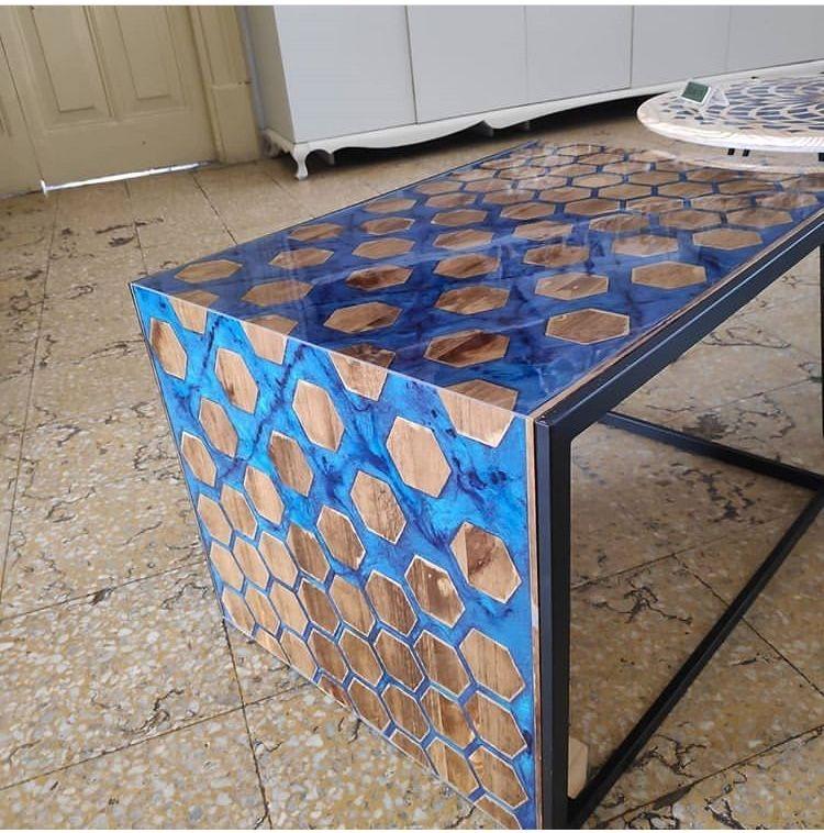 Pingl par walid elalami sur modiren table de r sine Resine meuble