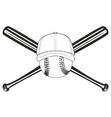 Download Ball and crossed bat vector image on | Baseball svg, Bat ...