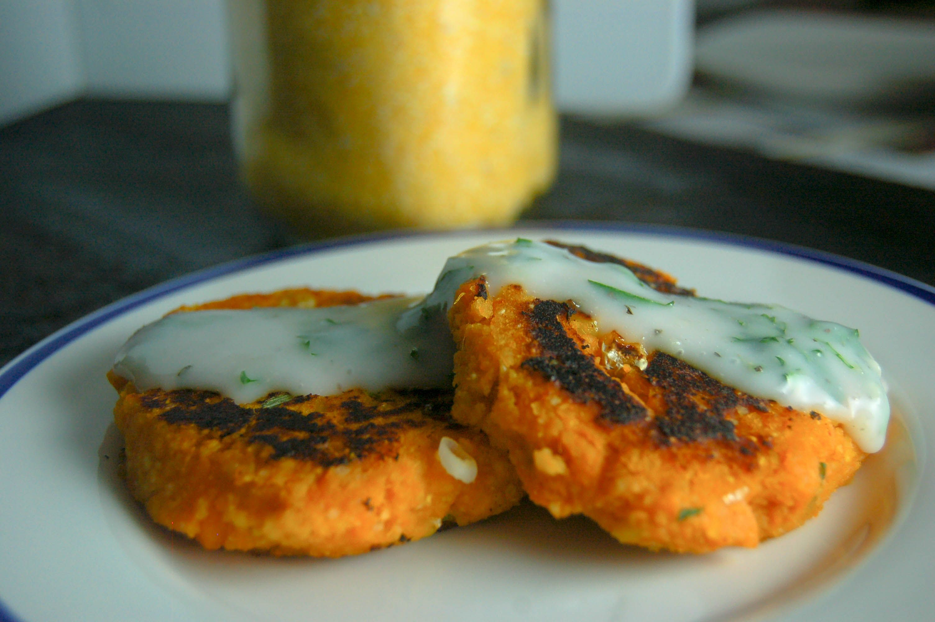 Sweet Potato Cakes w/ garlic dipping sauce!! Soooo good. #sweetpotato #healthyfood #lowfat #sidedish #quick