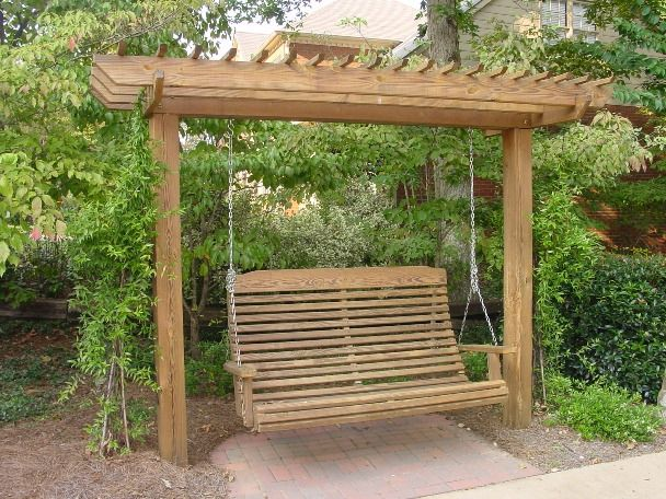 Create ampere special place inward your yard with this arbor and span made  from would Arbor Swing Design - Pergola With Swing Outdoor Spaces Pinterest Planters, Search