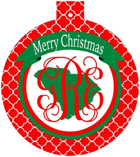 South Carolina Monogrammed Christmas Ornament,South Carolina gift
