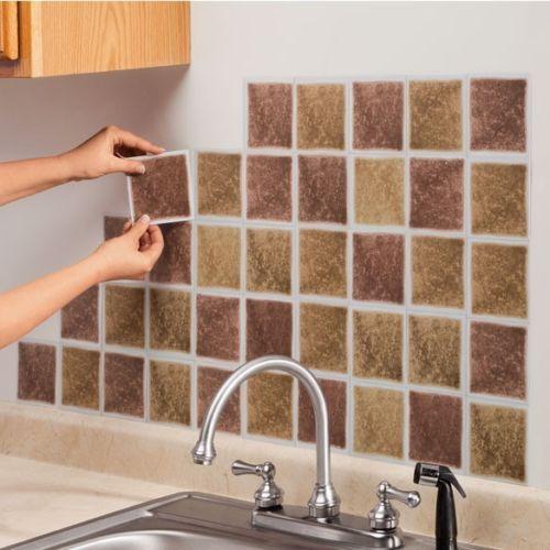 New Set Of 27 Self Adhesive Wall Tiles Brick Or Sand Peel Stick - Self-adhesive-backsplash-set
