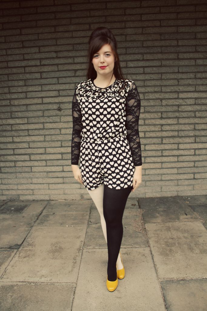 Dual Color Black And White Tights With Heart Patterned Dress And