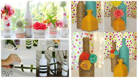 13 ideas ms creativas para decorar botellas y frascos de vidrio - Como Decorar Botellas De Vidrio
