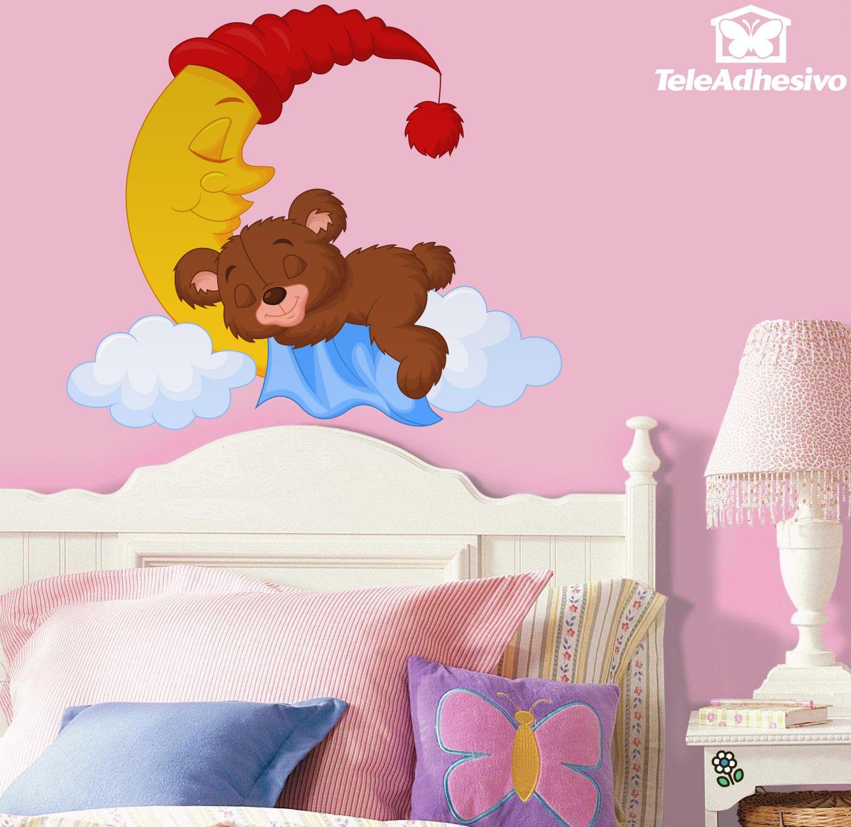 Es la hora de dormir el peque o osito duerme en la luna for Stickers infantiles