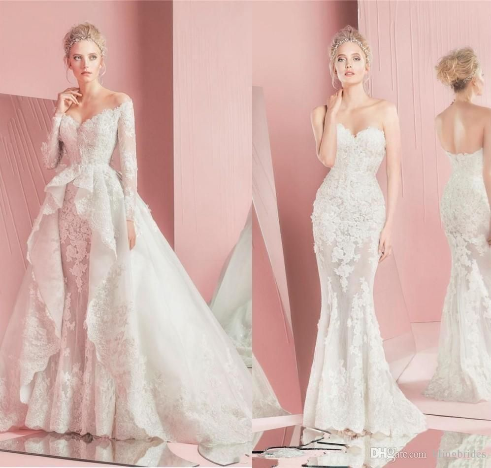Amazing zuhair murad detachable wedding dresses long sleeves