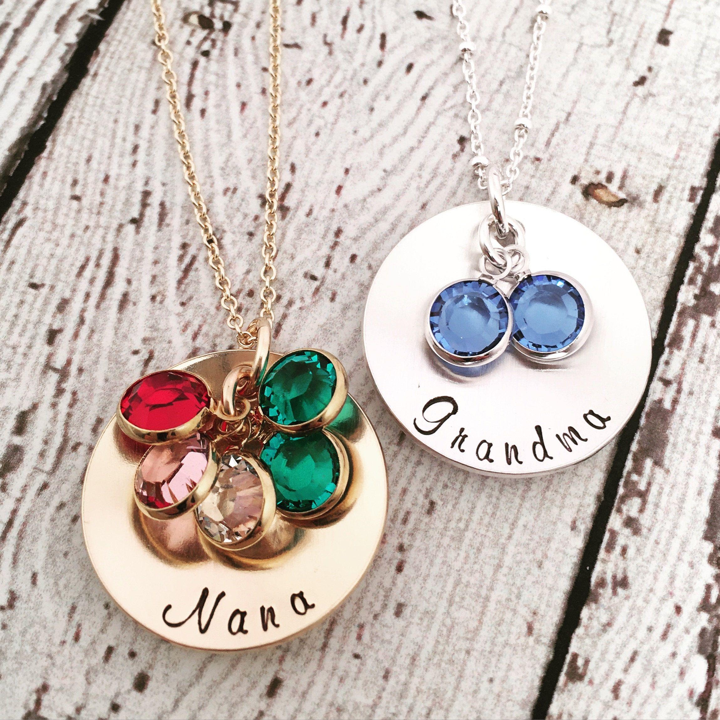 Birthstone necklace for grandma nana necklace