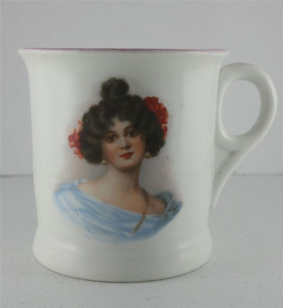 Antique-German-Victorian-Portrait-Hand-Painted-Porcelain-Lustre-Shaving-Mug-Cup