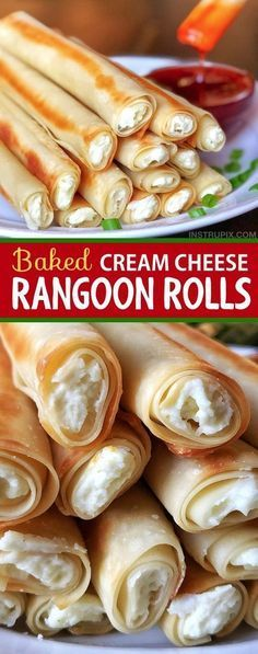 Easy Baked Cream Cheese Rangoon Rolls This recipe is so easy and delicious! It's just like Panda Express, only with a fun little twist. Serve them up as an appetizer or snack-- it's the best finger food idea, EVER.\u00a0 #food
