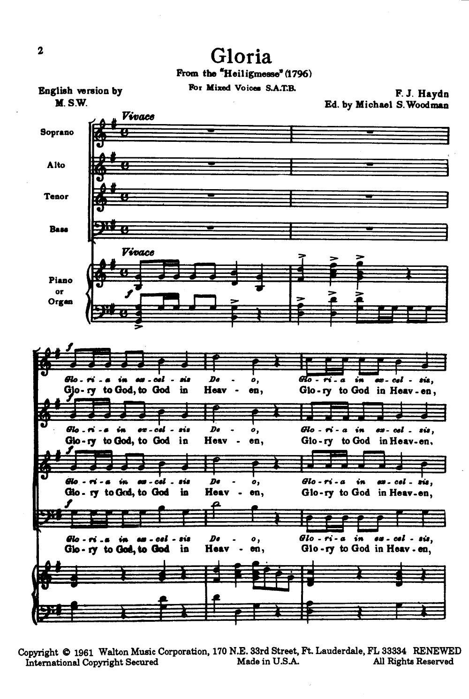 Gloria Satb By Franz Joseph Haydn Arr Wo Haydn Choral Sheet Music Sheet Music Book