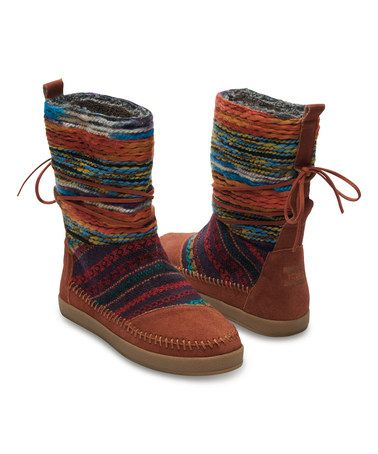 7b8ad865629 Another great find on  zulily! Cognac   Navy Stripe Suede Nepal Boot ...