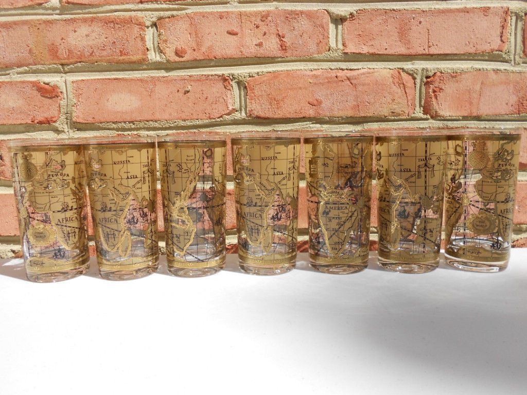 7 vintage cera cora old world map highball bar tumblers gold trim 7 vintage cera cora old world map highball bar tumblers gold trim for usd3999 collectibles barware glasses tumblers like the 7 vintage cera cora old gumiabroncs Gallery