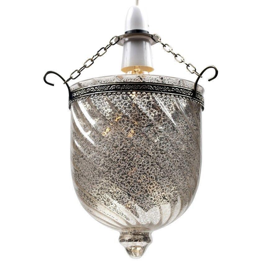 Modern Silver Mercury Glass Ceiling Light EasyFit Pendant ...
