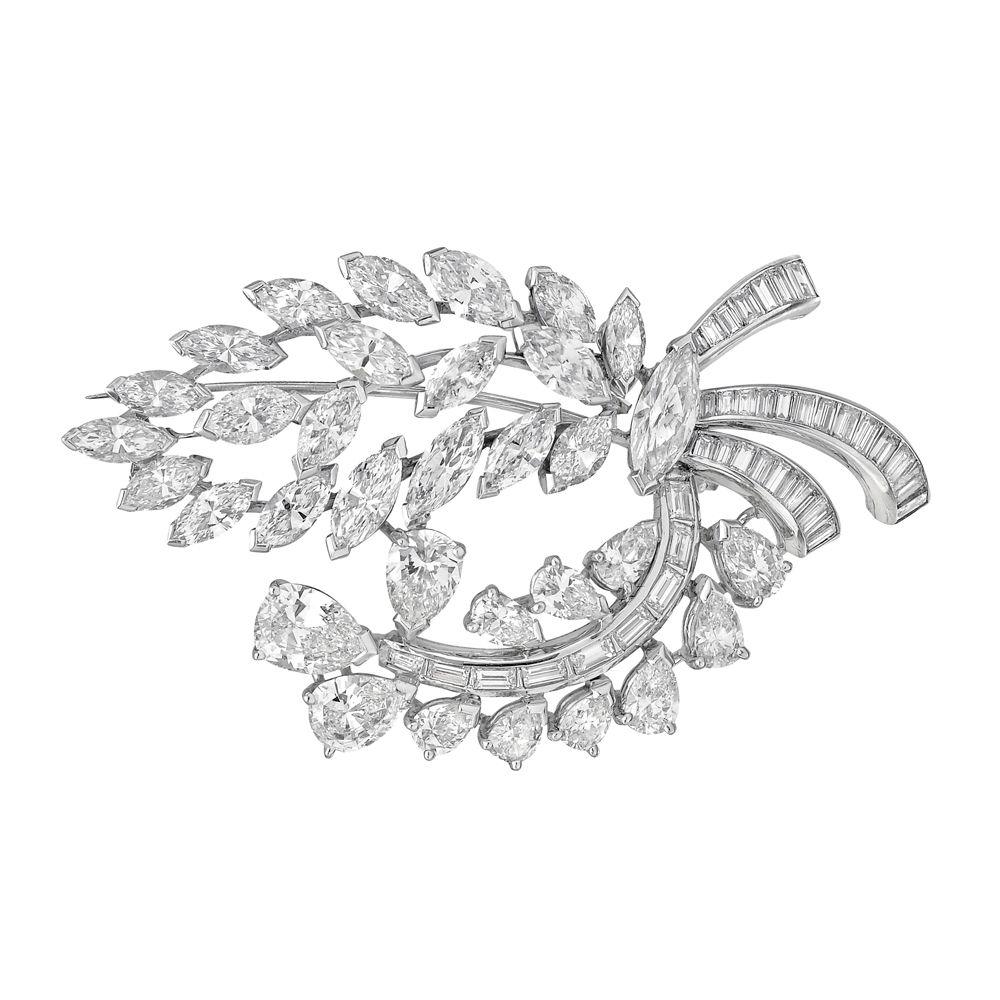 Estate Betteridge Collection 18k White Gold & Diamond Spray Brooch