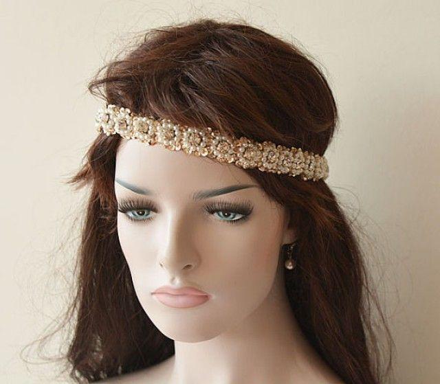 Wedding Hair Accessory, Bridal Headband, Sequins Beads Handmade, Pearl Headband, Bridal Hair Accessory