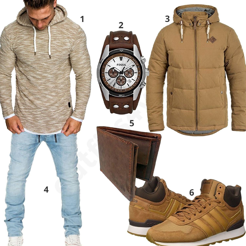 Männer Style In Beige Und Braun Mit Fossil Uhr (m0742)