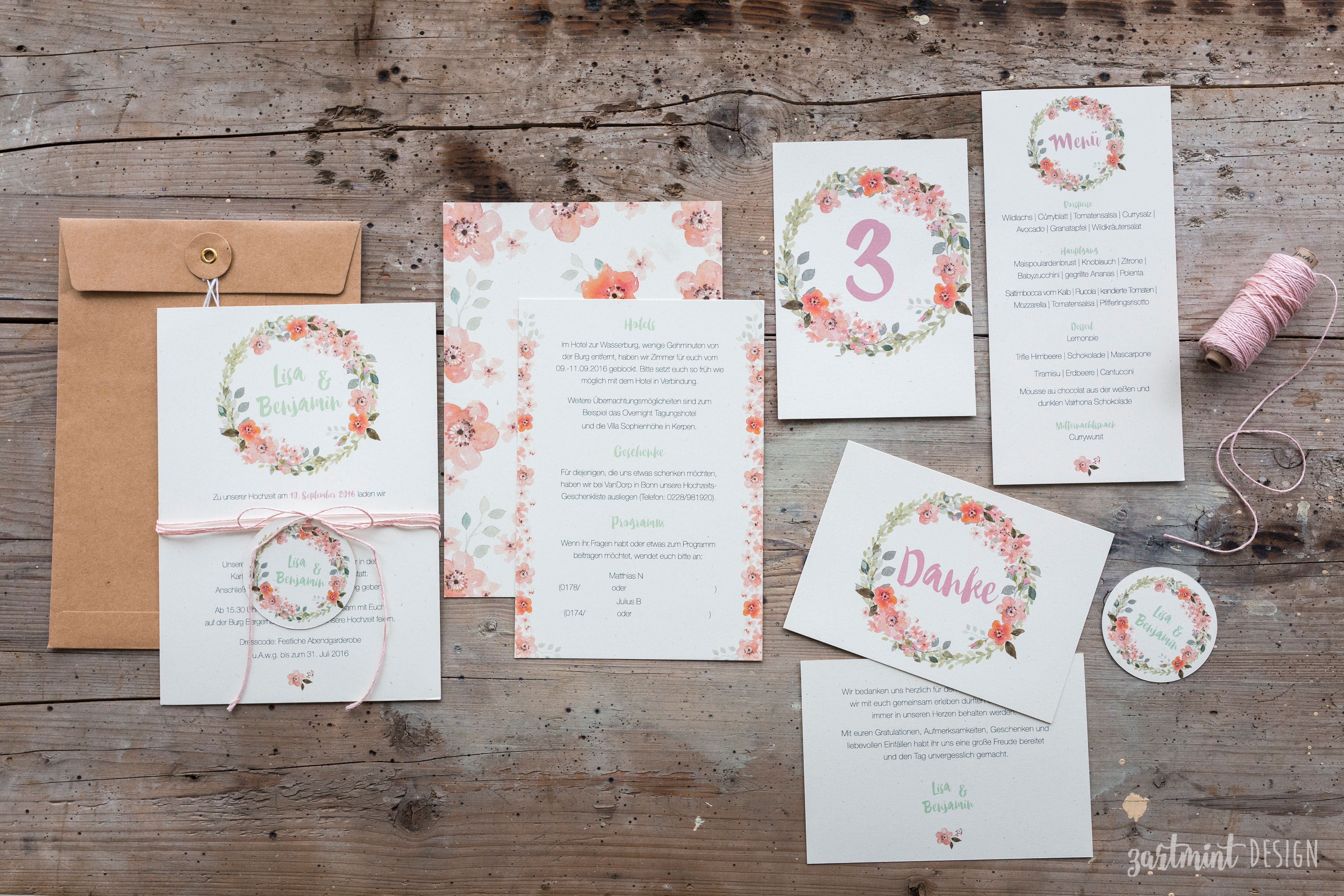 Hochzeitseinladungen Mit Blumenkranz Auf Naturpapier U003c3 Kraftpapier,  Vintage, Rose, Greenery, Flower