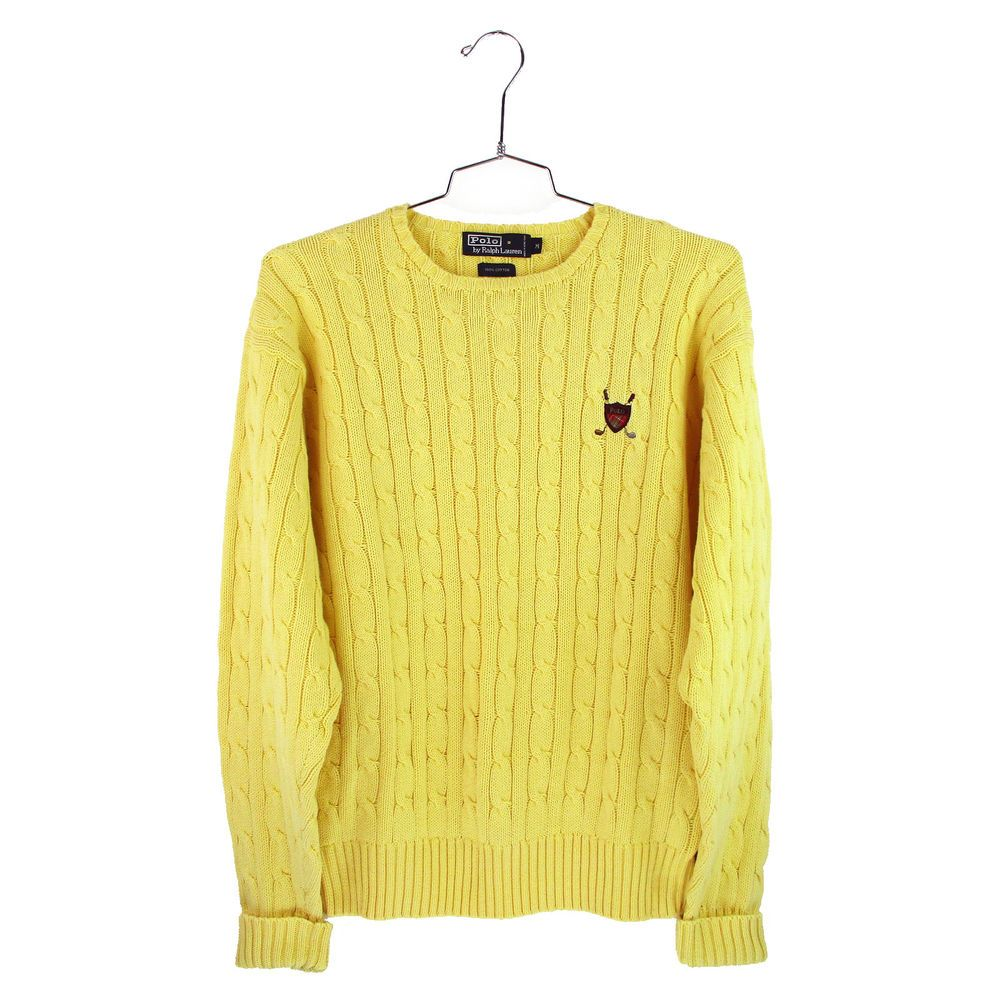 Vtg Polo Ralph Lauren Sweater Size Medium M Mens Yellow Cable Knit Golf Crest Vintage Clothing Men Ralph Lauren Sweater Polo Ralph Lauren