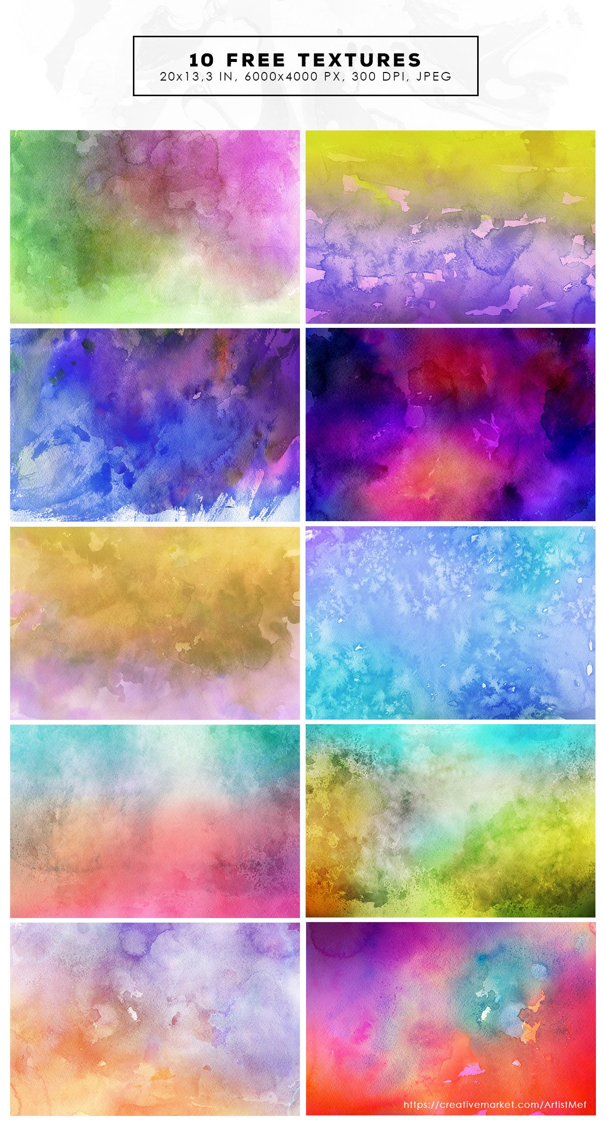 10 Free Colorful Watercolor Backgrounds Free Backgrounds