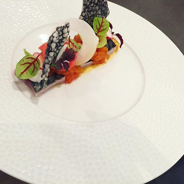 Mackerel made by Jordi. #finedining #amsterdam #chefsteam #chefsofamsterdam #platingskills #chefswag #culinaryarts #restaurantsinamsterdam #sensesrestaurant
