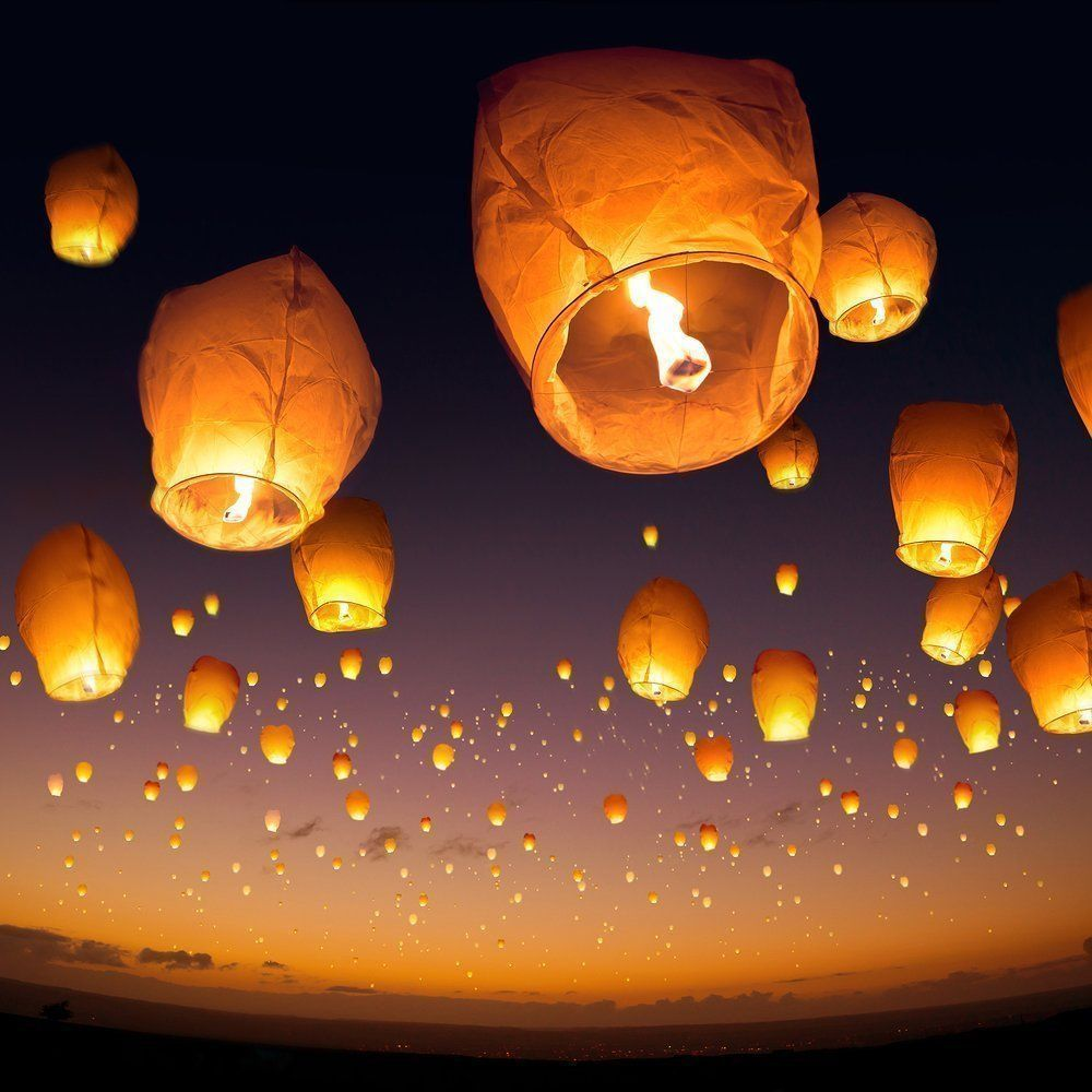 90 Paper Chinese Sky Wish Lanterns Fly Candle Lamp Wish Party Wedding US Seller