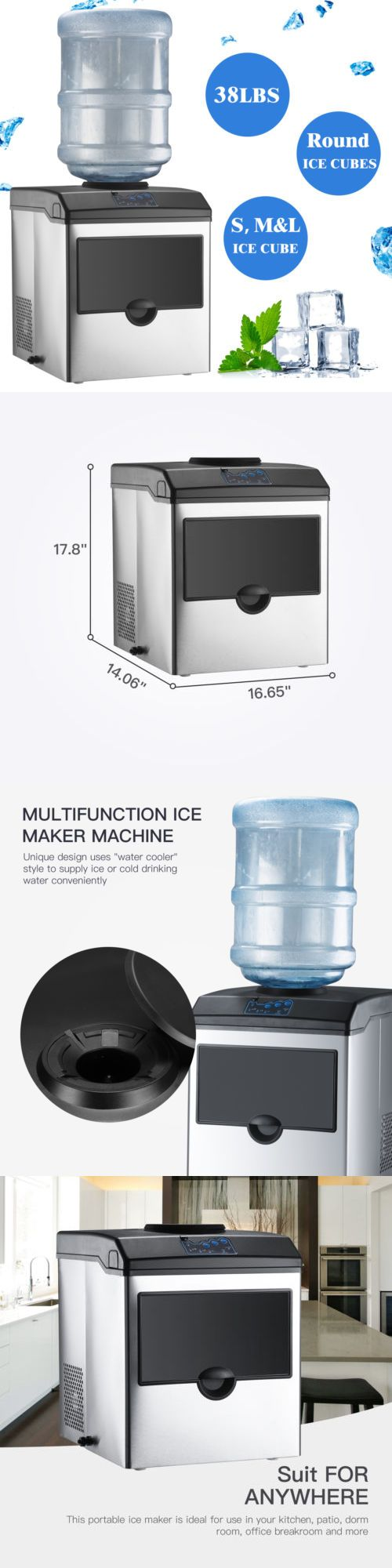 Countertop Ice Makers 122929 Electric 5 Gallon Cool Water