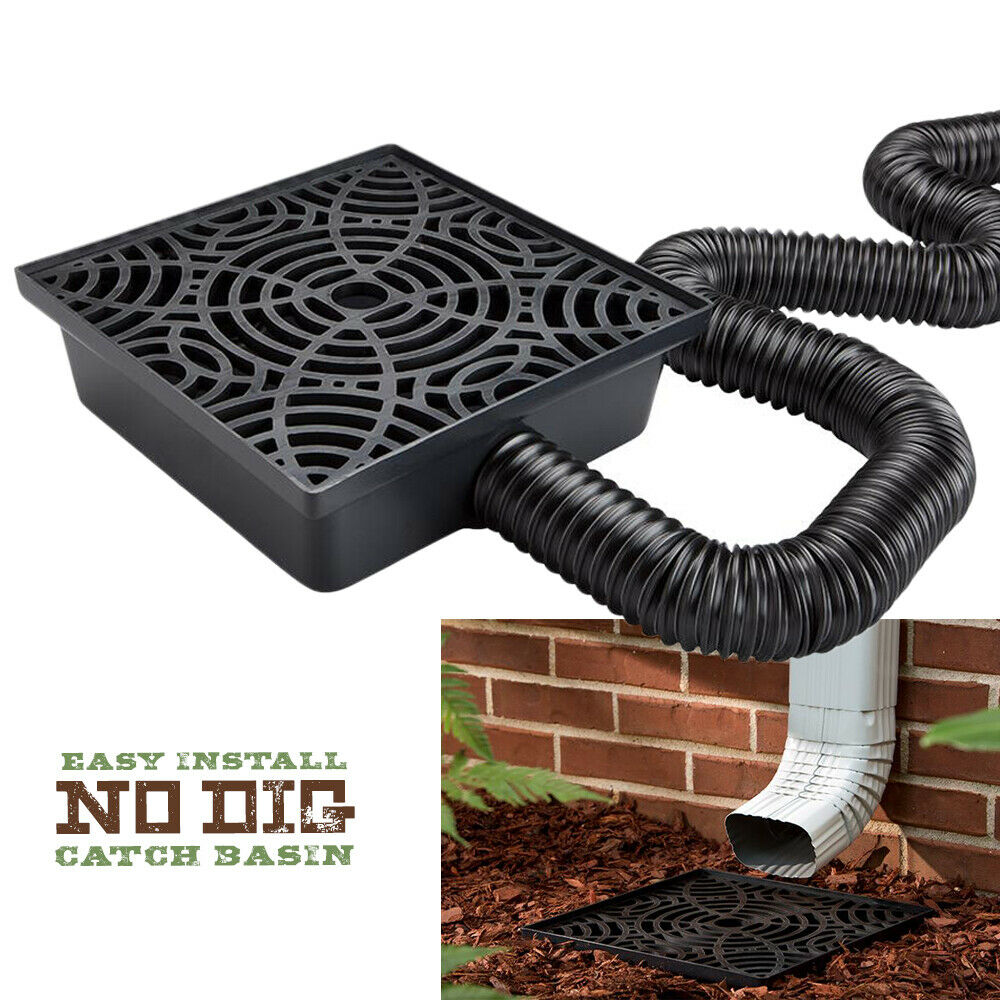 12 Inch No Dig Low Profile Catch Basin Downspout Extension Kit Black In 2020 Landscape Drainage Backyard Drainage Yard Drainage