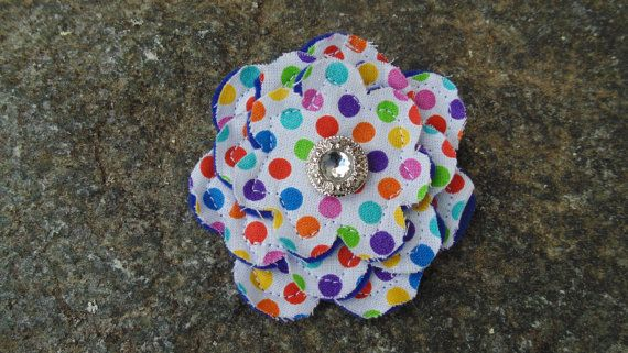 Rainbow Polka Dot fabric flower clip