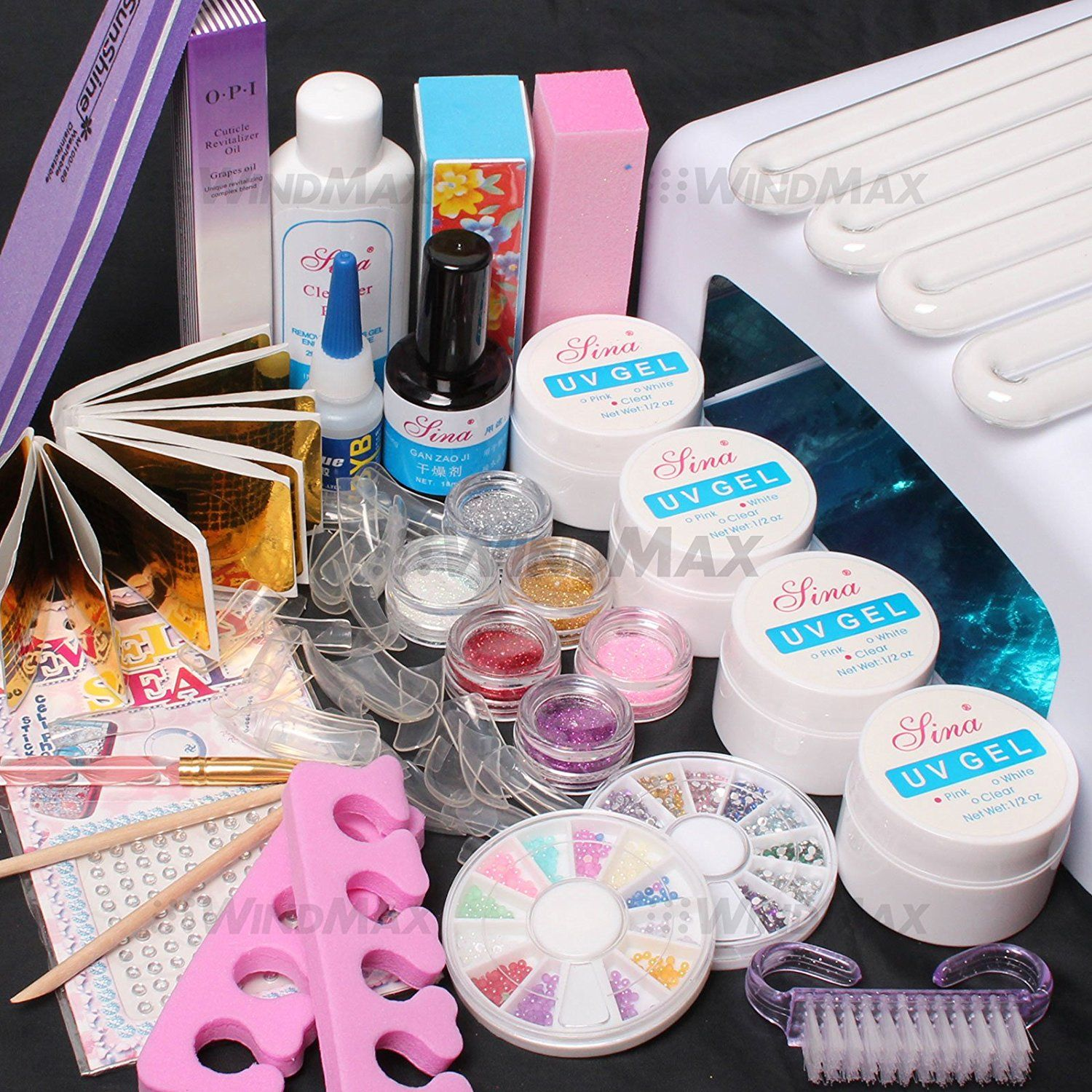 US Seller 22 in 1 Nail Art Comb Set 36W Timer Dryer Lamp Pink Clear ...