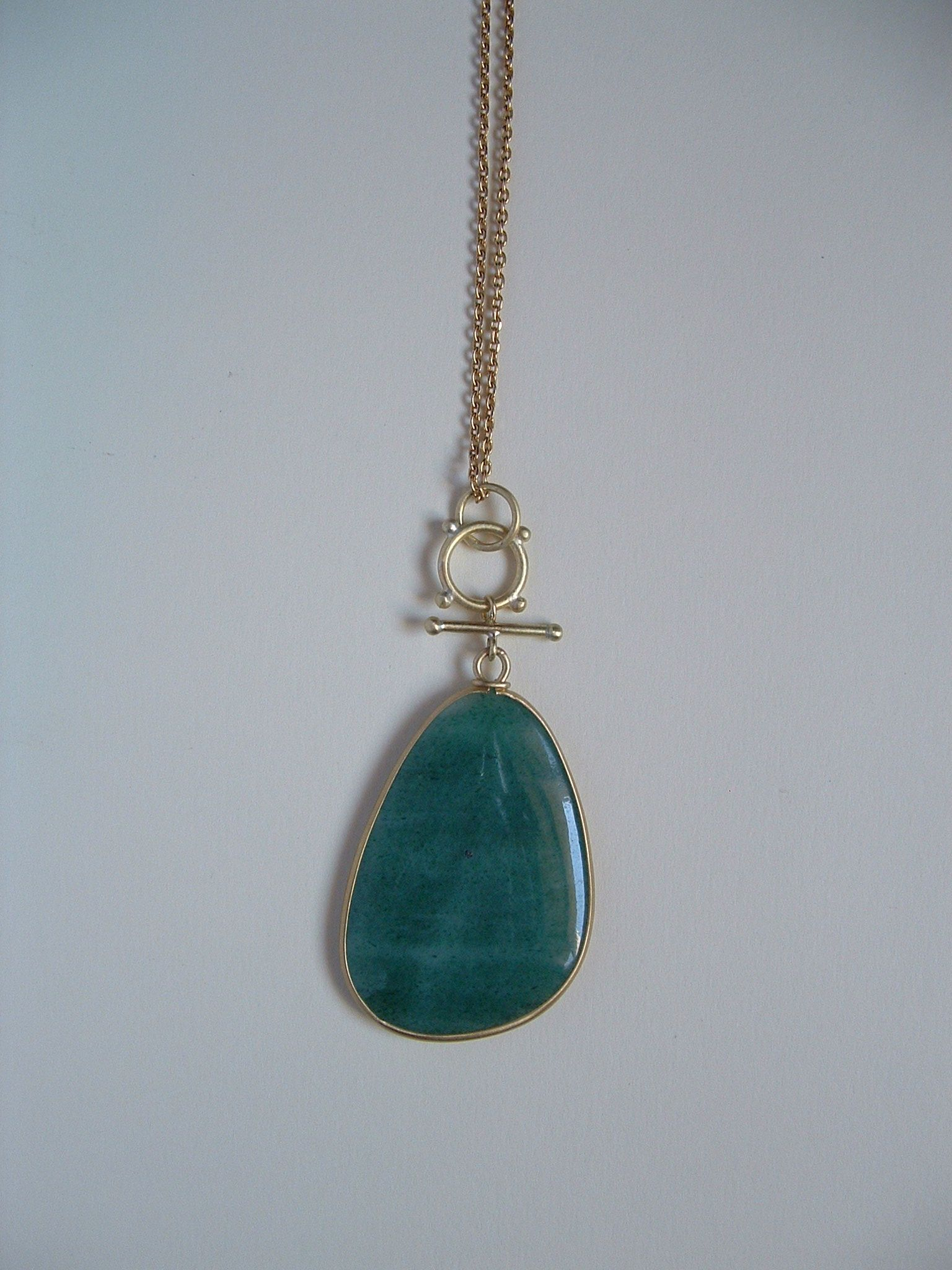 green aventurine, gold necklace. pepa bonnin