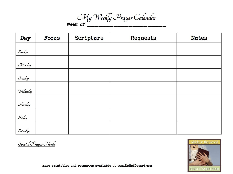 Weekly Prayer Calendar Template  Google Search  Prayer Journal