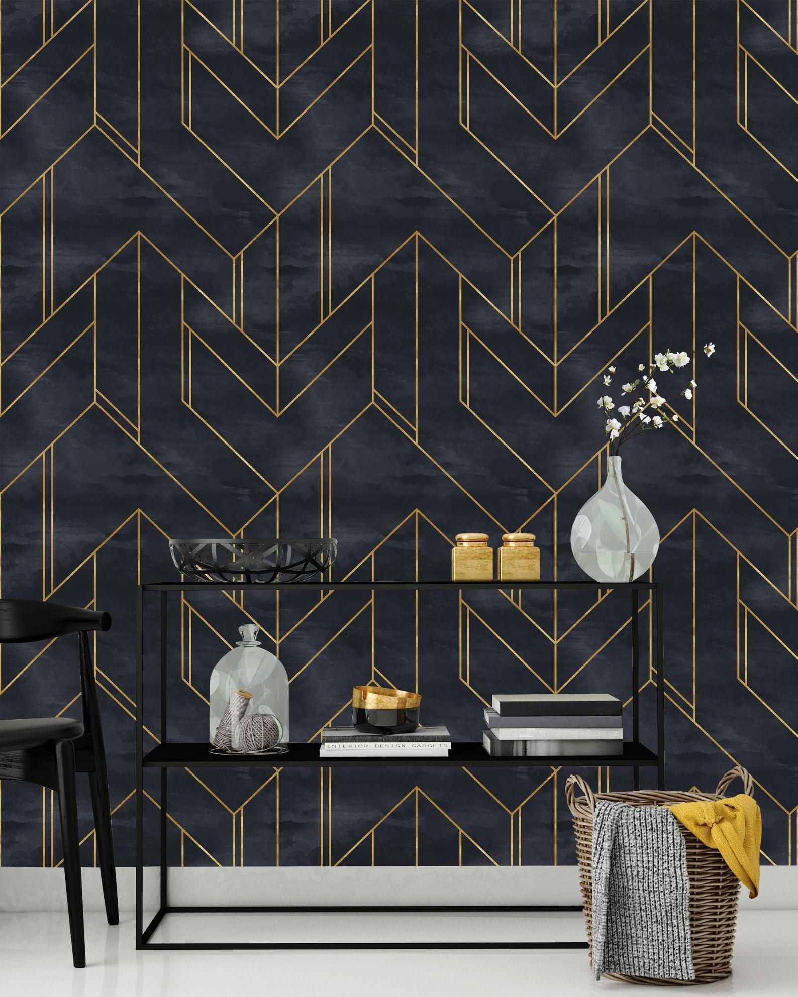 Removable Wallpaper Gold And Navy Blue Geometric Peel Stick Etsy Removable Wallpaper Navy Wallpaper Home Decor