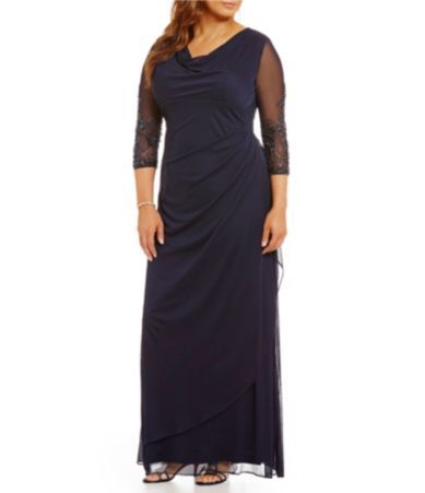 b599fe10b7 Alex Evenings Plus Beaded Illusion Sleeve Cowl Neck Dress