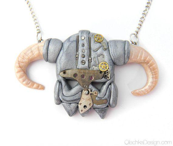 Skyrim Dragonborn STEAMPUNK Helmet Necklace  by OlechkaDesign, $25.00