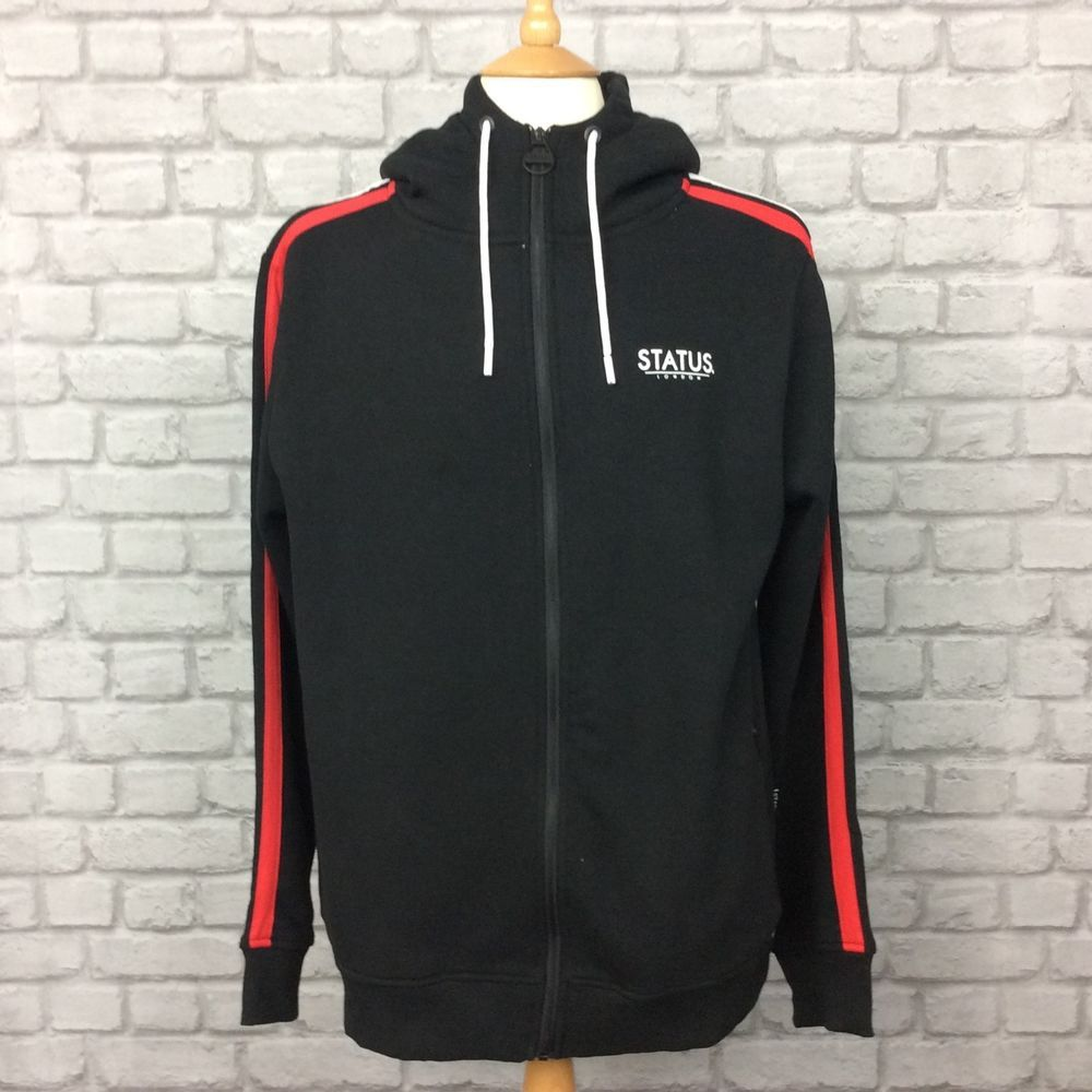 f89d10937 STATUS LONDON MENS UK L MOCK HOODIE BLACK FULL ZIP RRP 34.99 ...