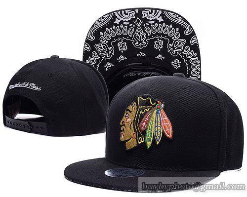 Chicago Blackhawks Snapback Hats NHL Caps Black Brim Simple Paisley