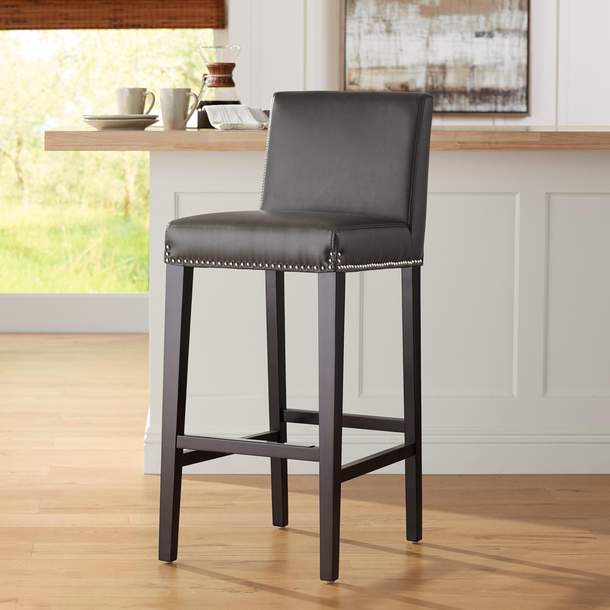 Brooke 30 Inch Gray Bonded Leather Barstool Bar Stools Bonded Leather Bar Stool Chairs