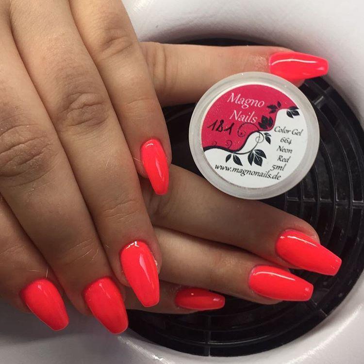 Modellage Mit Farbgel Neon Red Instagram Nailstagram Nails