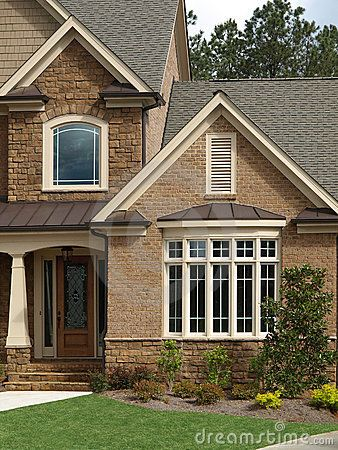 Luxury Model Home Exterior front door bay window by Anthony Berenyi, via  Dreamstime