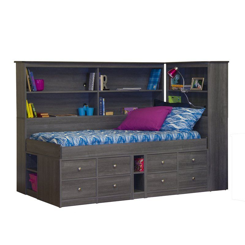 Bookcase Around Bed: Sierra Twin Size Low Jr. Captain's Bed