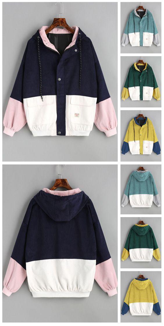 Hooded Color Block Corduroy Jacket Zaful Clothing Pinterest