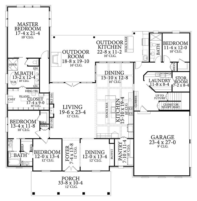 Country House Plan With 4 Bedrooms And 3 5 Baths Plan 6381 In 2020 Country Style House Plans House Plans Floor Plans