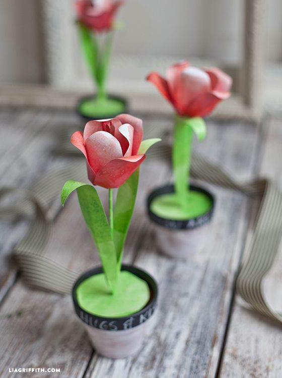 paper tulips with a watercolor print watercolor paper watercolor